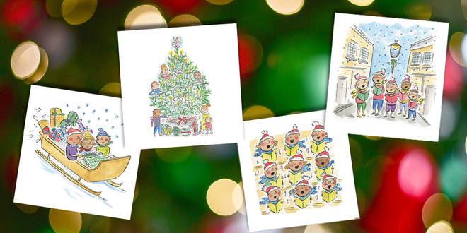 Classic FM charity Christmas cards, designed by illustrator Rosie Brooks