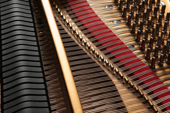 The strings of a Steinway grand piano