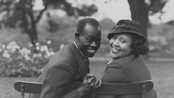 Fela Sowande with his then fiancé, soprano Mildred Marshall, in Regent's Park in London.