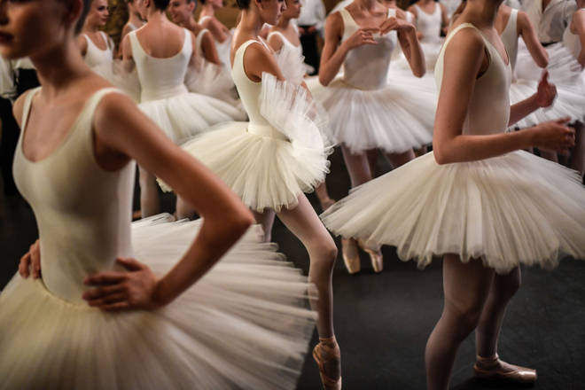 "In ""Ballet Blanc"", female dancers all wear white dresses and tutus"