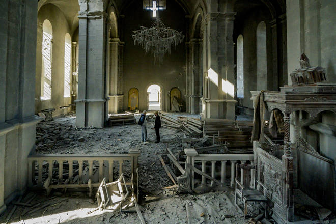 The cathedral has been severely damaged inside