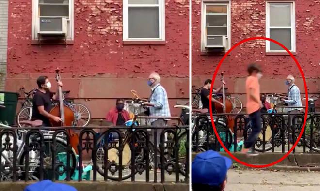 Boy on pogo stick adds percussion to a jazz trio's street performance