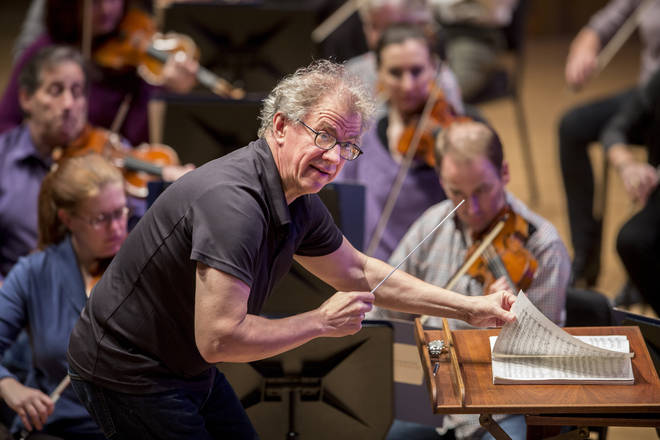 Osmo Vanska rehearses with the Minnesota Orchestra, of whom 15 members participated in the coronavirus study