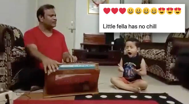 Toddler practising classical Indian singing with his father will melt your heart