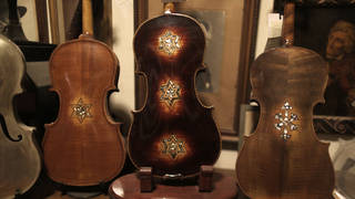 Some of the Violins of Hope, part of a collection founded by violin maker Amnon Weinstein.