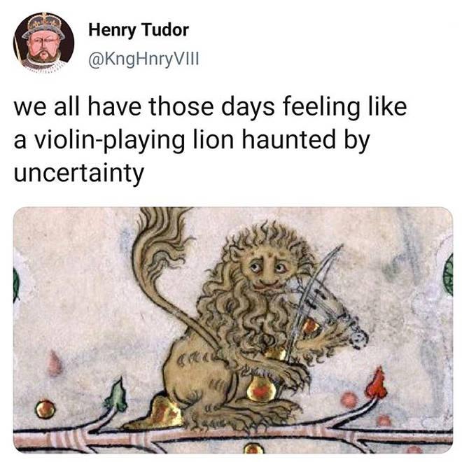 Lion playing violin