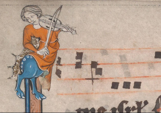 Woman and horse playing violin