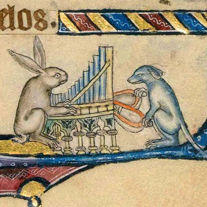 Dog and rabbit playing organ
