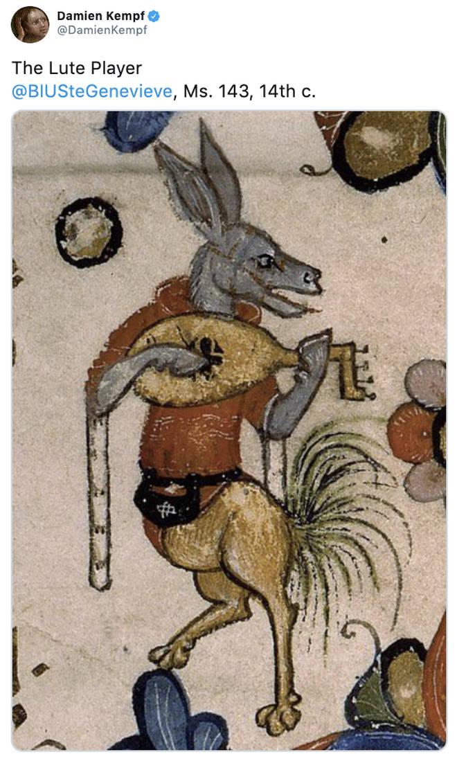 Lute playing donkey