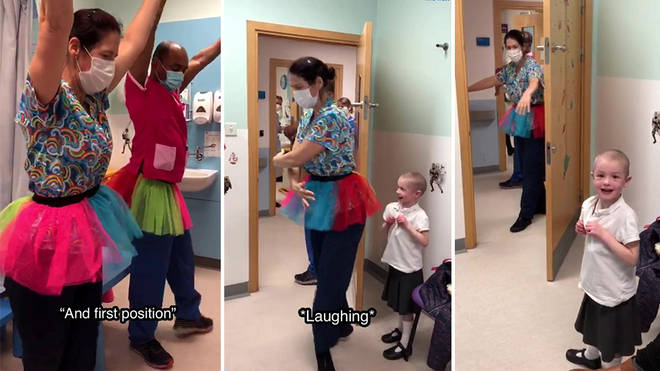 Hospital staff surprise young Izzy with 'Swan Lake'