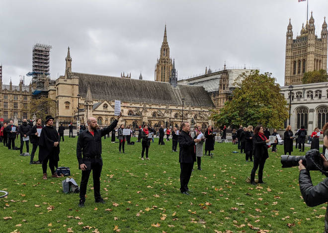 150 professional opera singers protest in Parliament Square