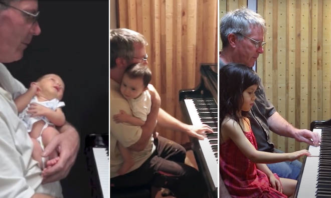 Dad documents playing piano to daughter for over five years