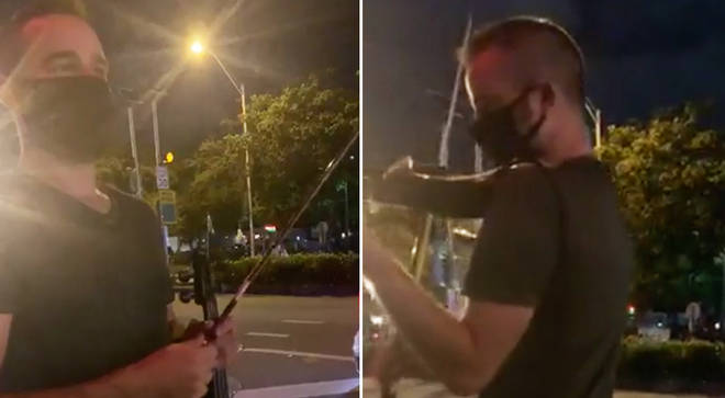 Violinist plays to drown out hate speech