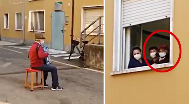 81-year-old man serenades wife beneath hospital window