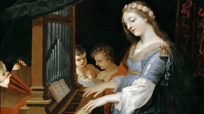 St Cecilia Playing The Organ painted by Jacques Stella, Musée du Louvre, Paris.