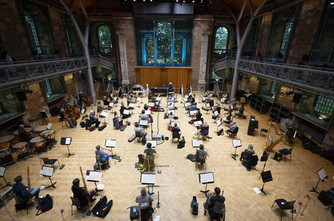 London Symphony Orchestra takes part in a socially-distanced rehearsal amid the coronavirus pandemic.