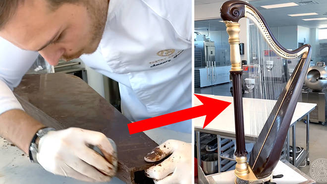 Patissier makes a chocolate harp
