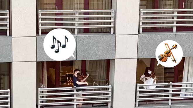 Kristin Lee and Matthew Lipman play on balconies in Taipei