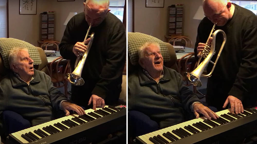 94-year-old jazz pianist plays piano for first time in years since his stroke