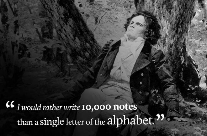 I would rather write 10,000 notes than a single letter of the alphabet.