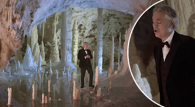 Andrea Bocelli sings 'Silent Night' in an empty cave