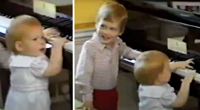 Prince William and Prince Harry play the piano as toddlers