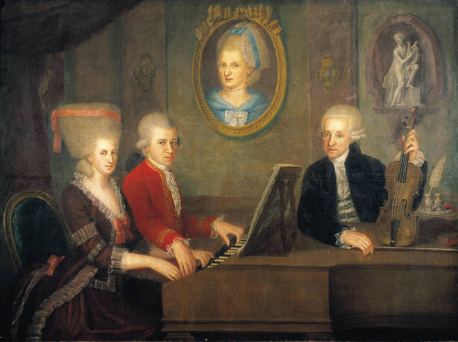 Young Wolfgang with his sister, Nannerl, and his father, Leopold Mozart