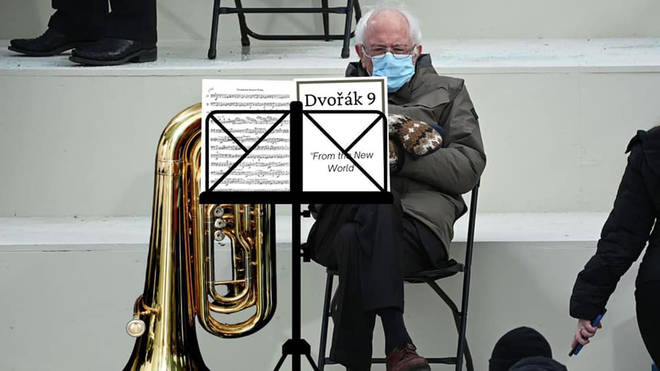 Bernie as... a bored tuba player in the New World Symphony