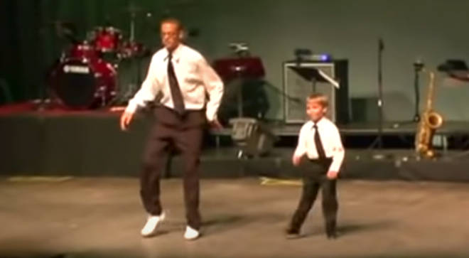 Professional tap dancer and his pint-sized partner perform an energised routine