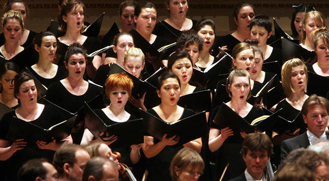 German riskiest language for singing? Westminster Symphonic Choir pictured singing Beethoven's 'Ode to Joy'