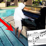 Musician plays Chopin 'Waterfall' Etude while paddling in water