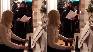 Anastasia Vasilyeva plays piano as police raid her Moscow flat