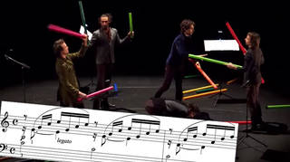 Jugglers play Bach on Boomwhackers