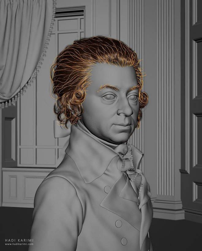 Computer graphics artist Hadi Karimi recreates Mozart portrait in lifelike, 3-D rendering
