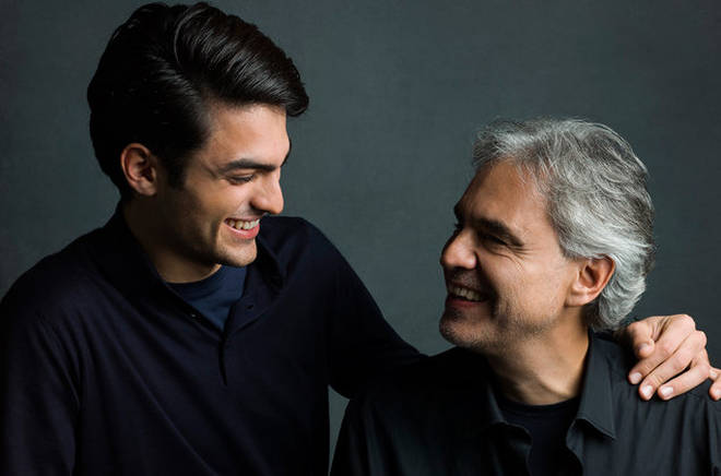Matteo Bocelli with his father Andrea