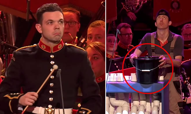 Wind band plays slapstick duet with leaky plumbing