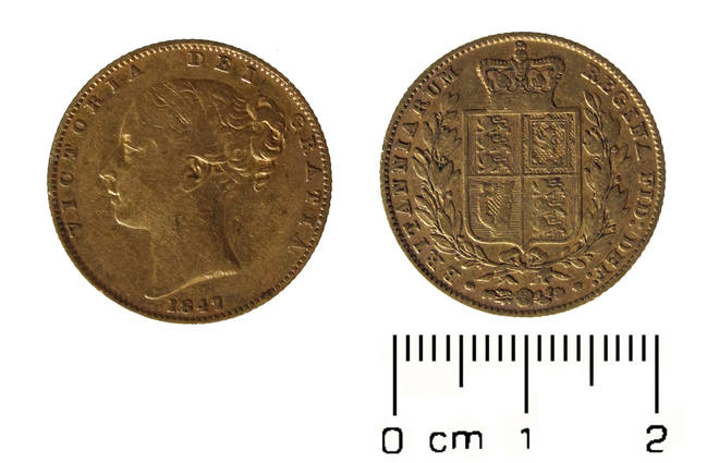 Size of the coins found inside Broadwood piano in Shropshire college
