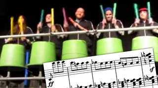 Beethoven's Fifth Symphony, but it's played by Boomwhackers on giant plastic drums