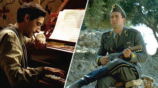 Adrien Brody and Nicholas Cage playing musical instruments in films