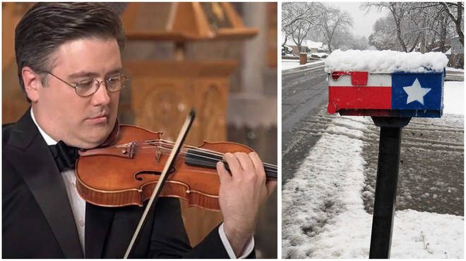 Aaron Boyd protects 17th-century violin by hugging it during Texas freeze