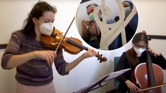 Frankfurt Philharmonic Chamber Orchestra perform stairwell concerts