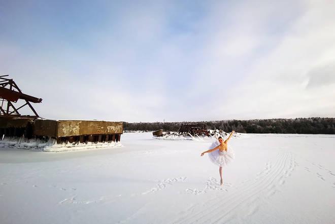 Ballerina performs Swan Lake on a literal frozen lake