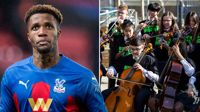 Footballer Wilfried Zaha calls for every child to be given a free musical instrument