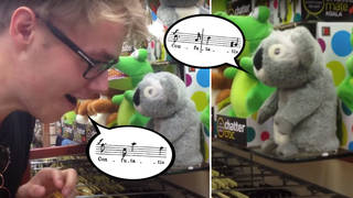 Choral singer duets with talking koala toy