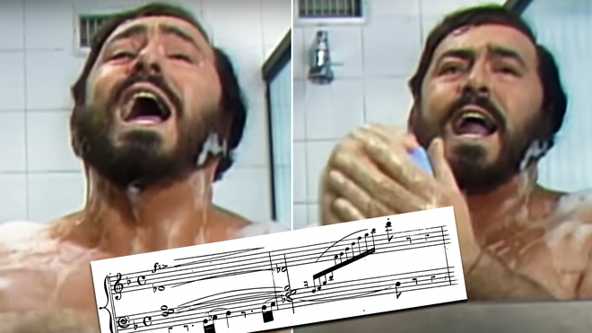 This is actual footage of Pavarotti singing in the shower