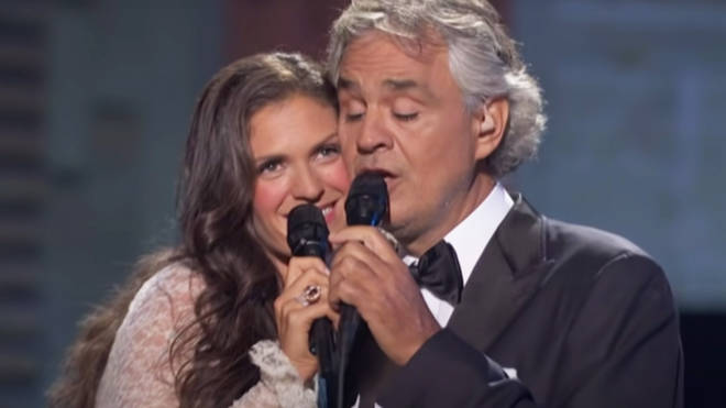 Andrea Bocelli and his wife Veronica Berti sing duet of 'Cheek to Cheek'