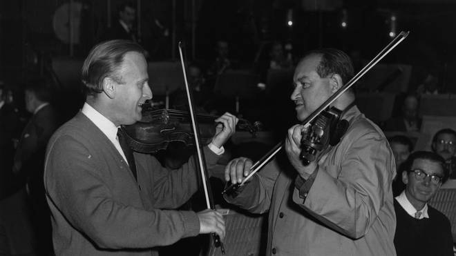 David Oistrakh and Yehudi Menuhin perform together at the Hall