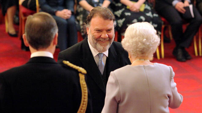 Her Majesty Queen Elizabeth II presents The Queen's Medal for Music to Welsh baritone Bryn Terfel.