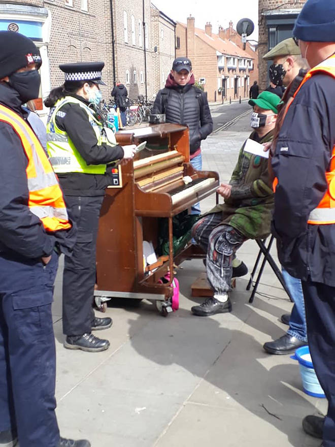 "A busker was fined £200 by police for breaching coronavirus regulations by ""causing a crowd"" when he performed in York."