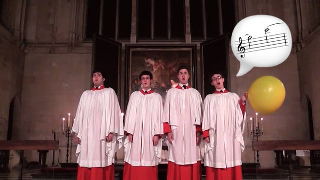 Choir of King's College, Cambridge uses a balloon to sing Allegri's Miserere